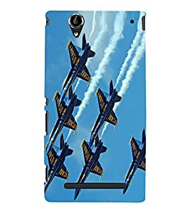 Fuson Premium Back Case Cover Jet planes With Brown Background Degined For Sony Xperia T2 Ultra::Sony Xperia T2 Ultra Dual