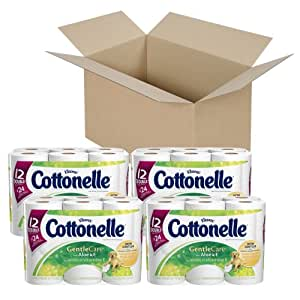 Cottonelle Gentle Care Toilet Paper with Aloe and E, 12 Rolls, Pack of 4 (48 Rolls)