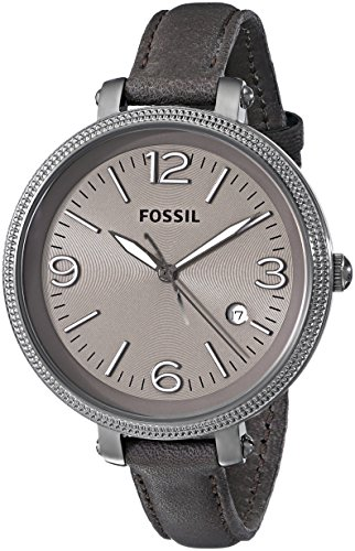 Fossil Women's ES3134 Grey Leather Swiss Quartz Watch with Grey Dial