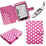 Xtra-Funky Exclusive Polka Dot PU Leather Book Wallet Style Case for Kobo Touch eReader Includes Robotic Pop Up Clip on LED Light - POLKA PINK