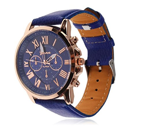 Blinx – Designer Fashion Blue pu faux leather Leisure formal Casual Dress party Smart Unisex Men Women wrist watch