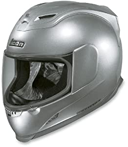 Icon Airframe Helmet, Silver Solid Gloss, Size: XS, Gender: Mens, Primary Color: Silver, Helmet Type: Full-face Helmets, Helmet Category: Street, 0101-4103