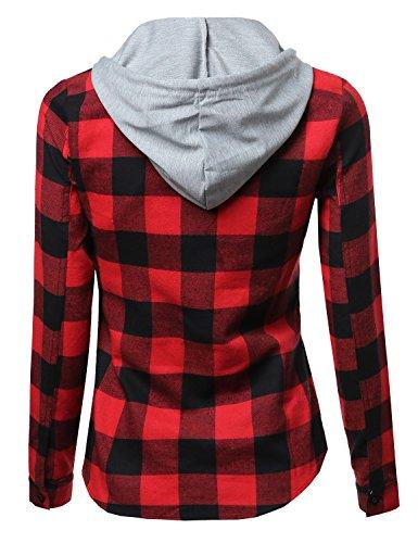 Super soft plaid checker detachable hood flannel red size for Super soft flannel shirts