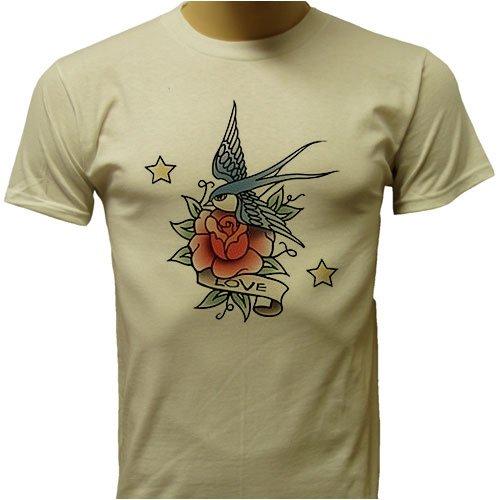pin classic bird and rose tattoo design t shirt old school