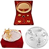 Gold Plated GL Pooja Thali Set And Silver,Gold Plated Lotus Pooja Thali And Silver Plated GL 11 Inchi Pooja Set