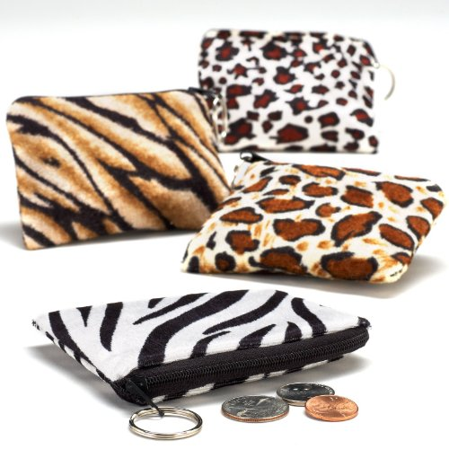 Plush Safari Print Coin Purse Key Chain, Pack of 12