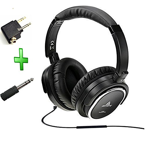 Acoustic-Noise-Cancelling-HeadphoneArtiste-On-ear-Over-Ear-Noise-isolation-Airline-Headset-Headphones-Black-Wiredwith-Airline-Headphone-Converter-Mic