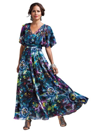 Roamans Women's Plus Size Floral Print Empire Gown
