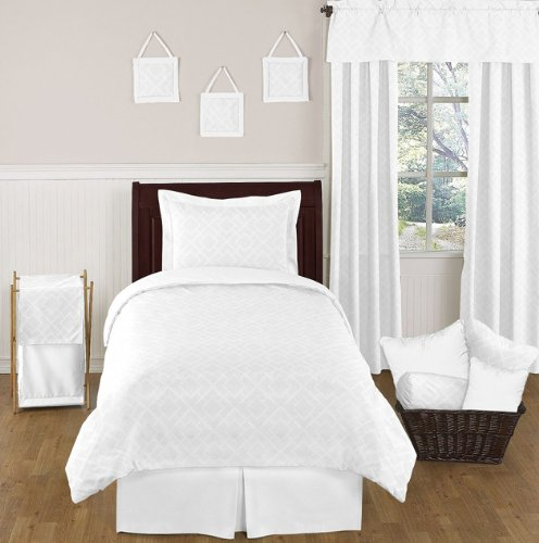 white diamond jacquard modern childrens and kids bedding 4 piece boy or girl twin set. Black Bedroom Furniture Sets. Home Design Ideas