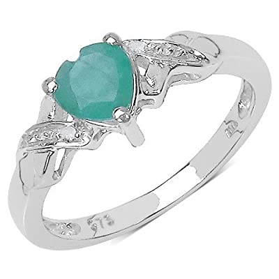 The Diamond Ring Collection: 9ct White Gold Heart Shaped Emerald with Diamond Set Shoulders Engagement Ring