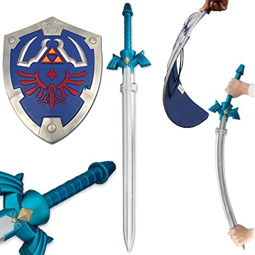 Zelda Master Sword and Blue Hylian Shield Combo Deal Foam Larp Set Cosplay