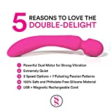 Double Delight Wand Massager - Dual Opposing Tips with 3 Speeds + 7 Powerful Patterns Per Setting, Super Pink