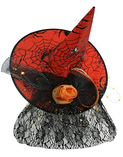 Fancy Black Spiderweb Net Orange Witch Hat [14697B]