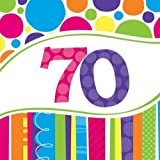 Creative Converting 18 Count Bright and Bold 70th Birthday Lunch Napkins