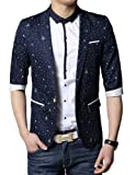 SSLR Mens 3/4 Sleeve 1 Button Blazer Coat