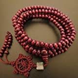 6mm*216 Buddha Red Ebony Wood Wheel Prayer Beads Buddhist Sutra Bracelet Necklace