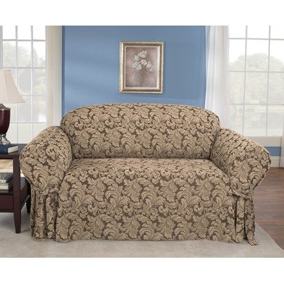 Sure Fit Scroll 1-Piece Loveseat Slipcover, Brown
