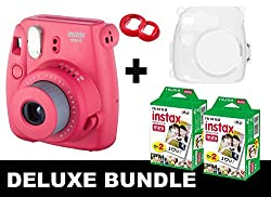 Fujifilm Instax Mini 8 - Raspberry + 40 Pack Instax Film + Transparent Crystal Shell Case + Red Selfie Mirror