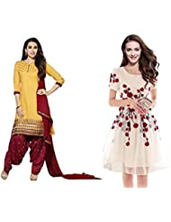 Sky Global Women's Regular Wear Dress Material And Kurti (Combo Pack Of 2)(SKY_DK_9001)(SKY_557_Yellow)(SKY_7006...