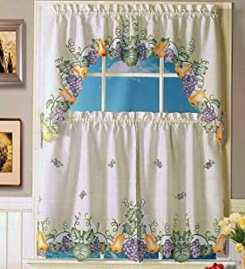 Red Delicious 3Piece Kitchen Curtain Tier Set | Colorful Curtains