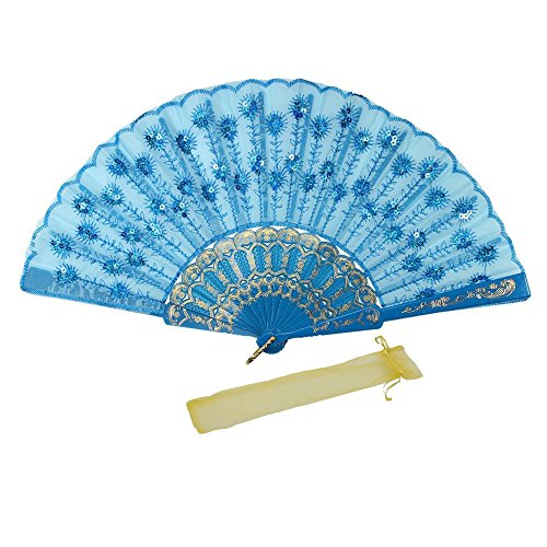 Jsswb Blue Plastic Cloth Hand Fan with Sequins