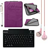 VG Pillow Quilted Nylon Protective Tablet Sleeve for Samsung Galaxy Tab S 10.5 / Galaxy Tab Pro 10.1 inch Tablets + Bluetooth Keyboard + Laser Stylus Pen + Pink VG Headphones (Purple)