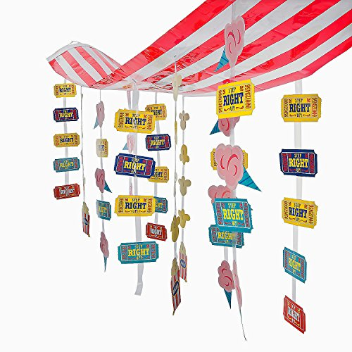 Carnival Circus Party Striped Hanging Ticket Ceiling Decoration - 12 ft