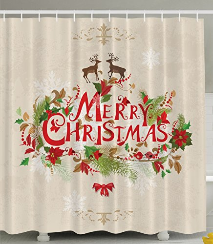 Merry Christmas Reindeer Holiday New Year Print Polyester Fabric Shower Curtain, Beige Brown Red Green