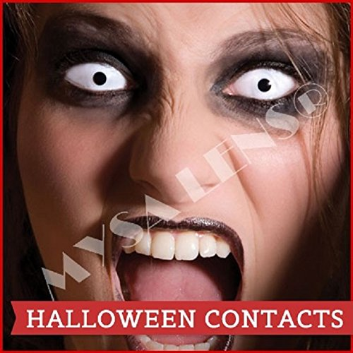 Bon Fire Night Scary Clown,Zombie, Halloween, 1 Day Use White out Contact Lenses Be Seen This Halloween (accesorio de disfraz)