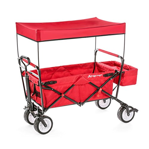 The Best Feature & Quality NEW 4th GENERATION Collapsible Folding Wagon with Canopy and Kids Seat Belt, Padded Bottom, Auto Safety Locks, Spring Bounce, Brake, Stand, EVA Wide Tire (Ruby Red) (Folding Wagon With Seats compare prices)