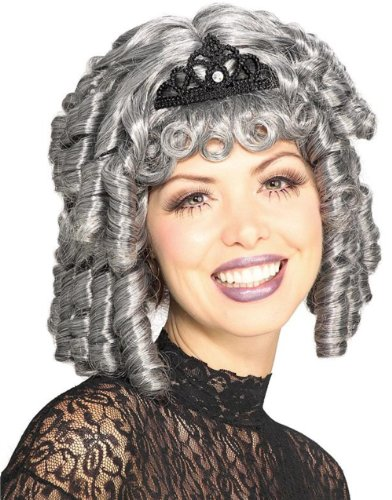 Adult Womens Grey 18th Century Zombie Victorian Lady Costume Ringlets Wig