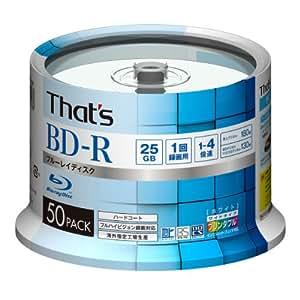 That's BD-R ビデオ用 4倍速 180分 25GB 台湾製ハードコート仕様 ワイドプリンタブル白 外周印字あり スピンドルケース50枚入 BR-V25WWR50BC
