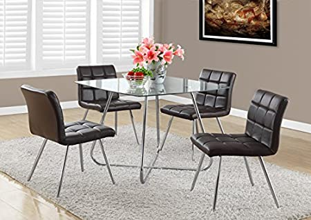 "BROWN LEATHER-LOOK / CHROME METAL 32""H DINING CHAIR / 2PC (SIZE: 19L X 23W X 32H)"