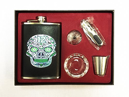 Sugar Skull 12th Man Deluxe 9oz Flask Gift Set Includes Funnel Utility Pocket Knife Stainless Steel Shot Glass & Mini