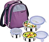Jaipan 3 PCS Air Tight & Leak Proof Hot Tiffin (1234) with Special Cushion Pouch