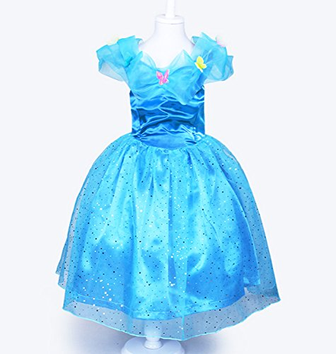 2015 New Movie Cinderella Princess Child Kid Ella Blue Dress Cosplay Cost 4t-11y