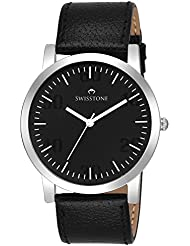 Swisstone GR106-Black Dial Black Leather Strap Analog Wrist Watch For Men