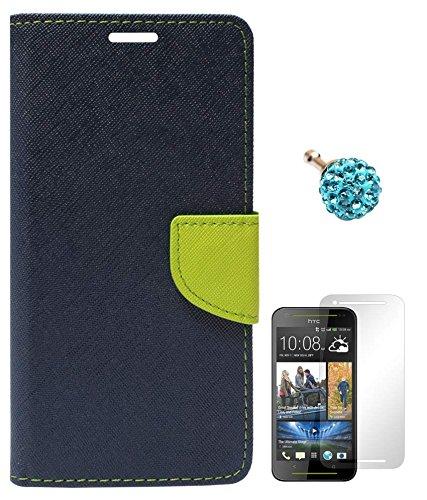 DMG Mercury Goospery Premium Wallet Cover Case for HTC Desire 700 (Pebble Blue) + 3.5mm Dust Jack + Matte Screen