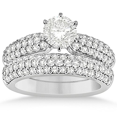 Three Row Half-Eternity Prong Setting Round-Cut Diamond Bridal Set in Platinum (1.59ct)