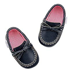 Genuine Leather Navy Blue Dock Shoes for Infant Baby Boys - Soft Sole with Red & White Striped Lining (Navy Blue) (12-18 Months (5\