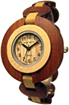 Tense Sandalwood & Maple Retro Round Analog Ladies Rare Wood Watch L8205SM