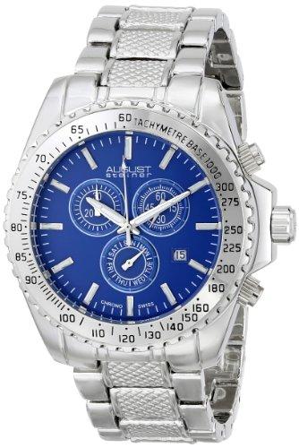August Steiner Men's Swiss Quartz Chronograph Blue Dial Silver-tone Bracelet Watch