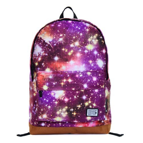 Why Should You Buy Tinksky® Fashion Canvas Galaxy Universe Star Girl's Backpack Shoulders Bag (Purp...