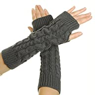 Eforcase Women Lady Girl Knitted Crochet Long Soft gloves Winter Warmer Braided Arm Fingerless…