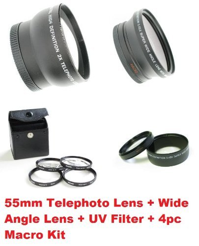 Ultimate 55mm Lens Kit - Telephoto, Wide Angle, 4pc Macro & UV Filter for ANY 55mm Lens Cameras!