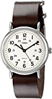 Timex Unisex T2N893 Weekender Silver-Tone Watch with Leather Band
