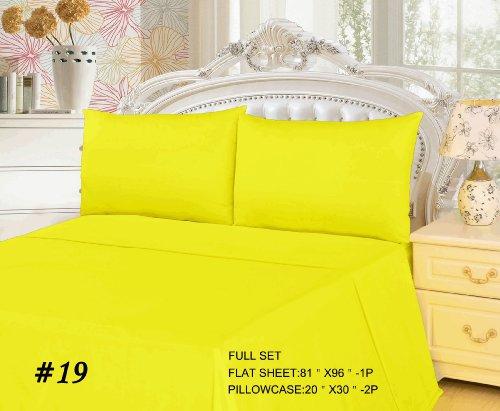 Tache 3 Piece 100% Cotton Bed Sheet Set Yellow Flat Sheet -Full front-997108
