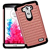 myLife Champagne Pink + Black Inside {Diamond Net Design} 2 Piece Hybrid Reflex Case for the LG G3 Smartphone (Outer Rubberized Fit On Protector Shell + Internal Silicone SECURE-Grip Bumper Gel)