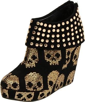 Iron Fist Women's Gold Star Wedge Boot,Gold/Black,7 M US