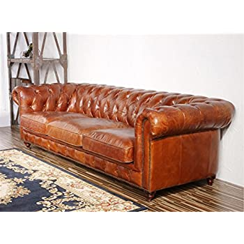 "Pasargad Carpets Chester Bay Genuine Leather Tufted Sofa, 3 2"" x 8"